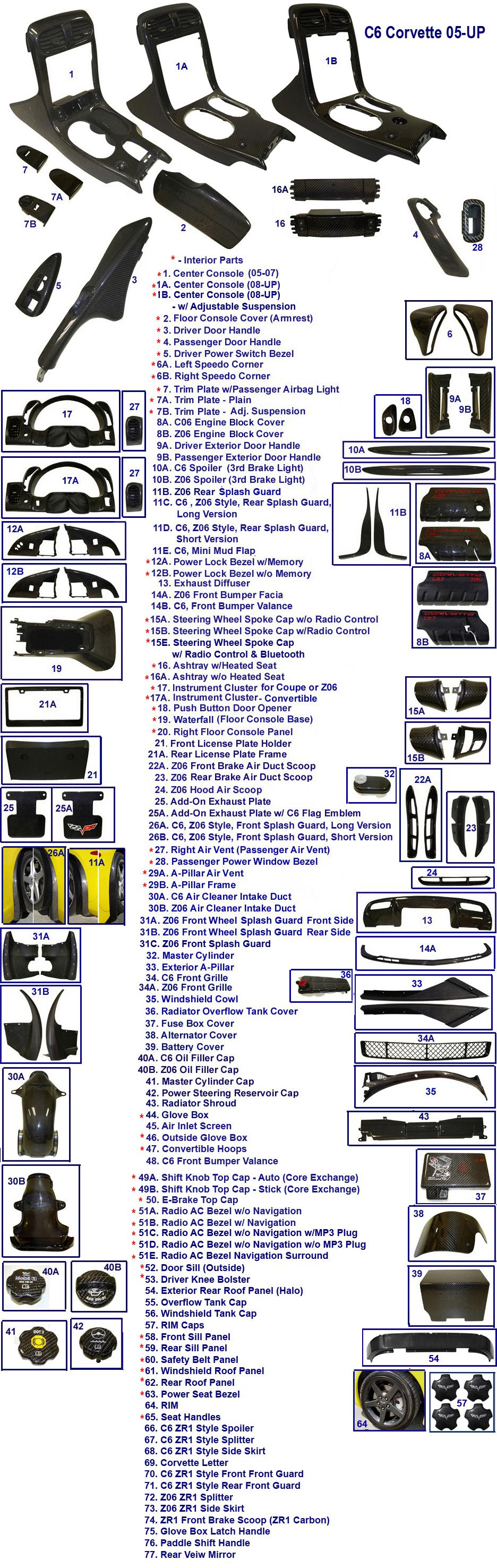 C6 Corvette Front Diagram Corvette Auto Parts Catalog